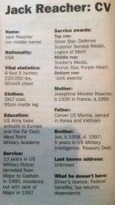 Jack Reacher's CV