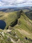 View back across Striding Edge